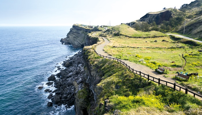 """View of Olle walking path No. 10 Course in Songaksan in jeju island, Korea. Olle is famous trekking courses created along coast of Jeju Island. Songaksan is famous place for drama """"All-in"""" filming location."""